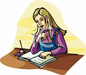 Clipart Picture of a Blonde Girl Studying.
