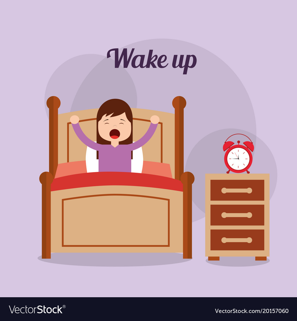 Girl in his bed with clock bedside table wake up.