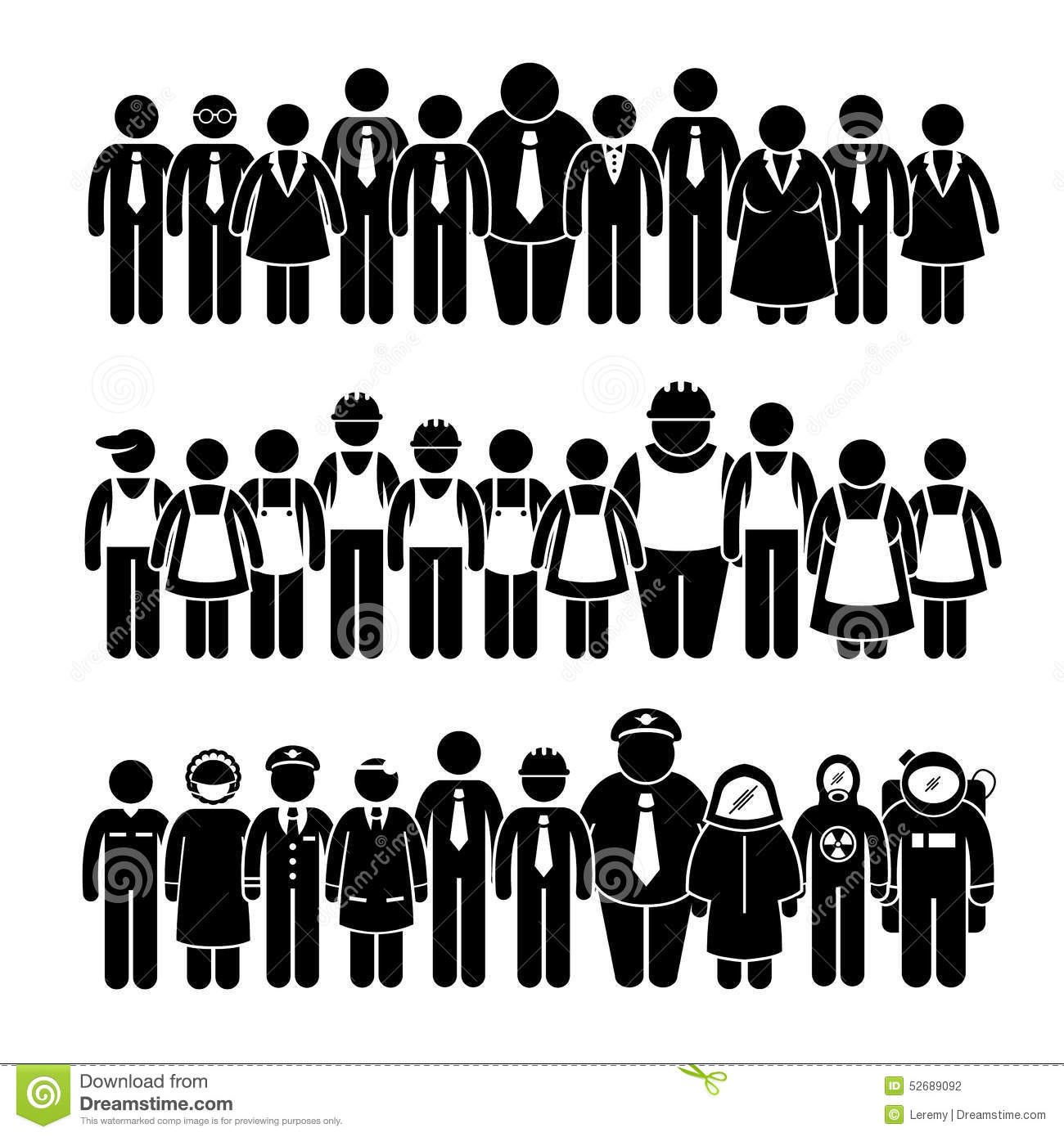 Group Of People Worker From Different Profession Cliparts Stock.