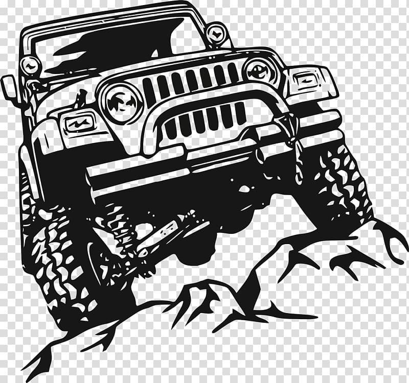Jeep Wrangler Car Wall decal, jeep transparent background PNG.
