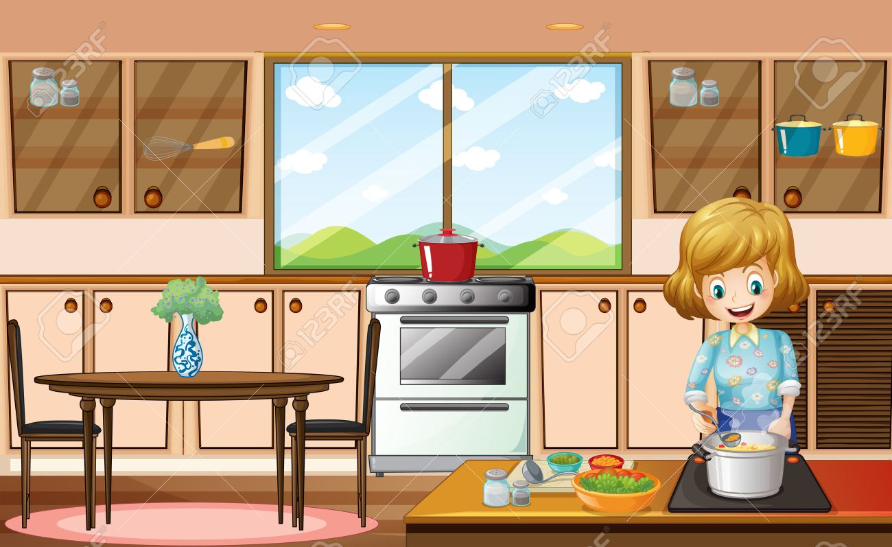 Illustration of a woman cooking in the kitchen.