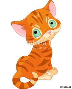 CLIPART KITTEN PLAYING WITH BUTTERFLY.