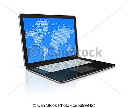 Clipart of black Laptop computer isolated on white with worldmap.