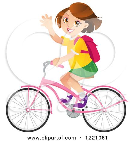 Clipart Of A Little Girl Riding A Bike.