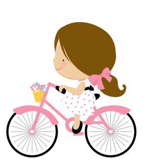 Little Girl Riding A Bike Clipart.