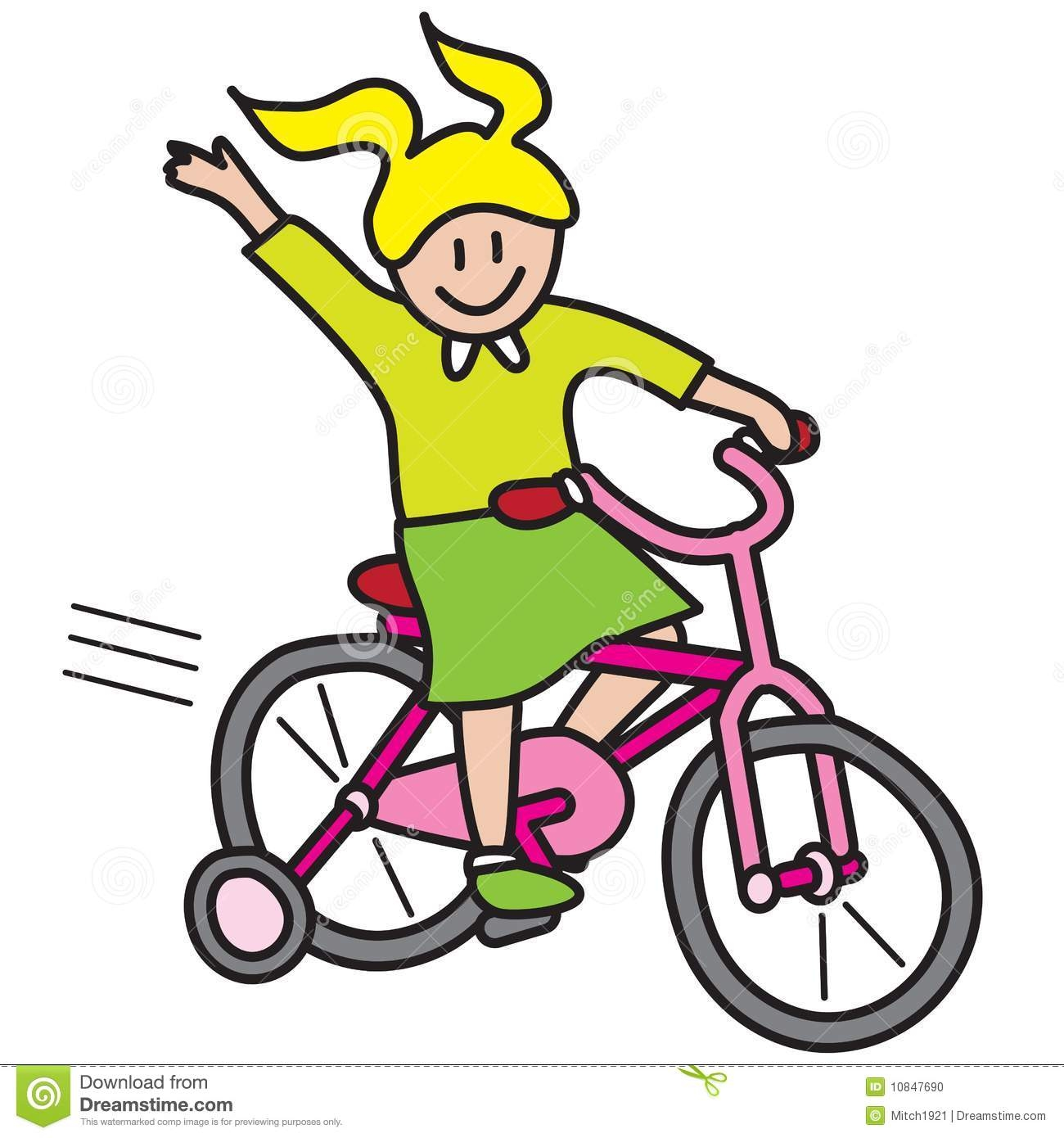 Little Girl Riding Bike Clipart.