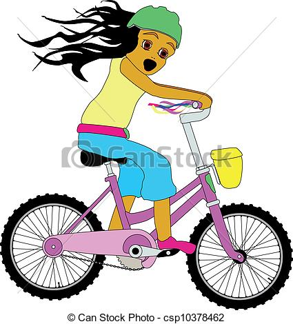 Clip Art Vector of Little Girl on a Bicycle..