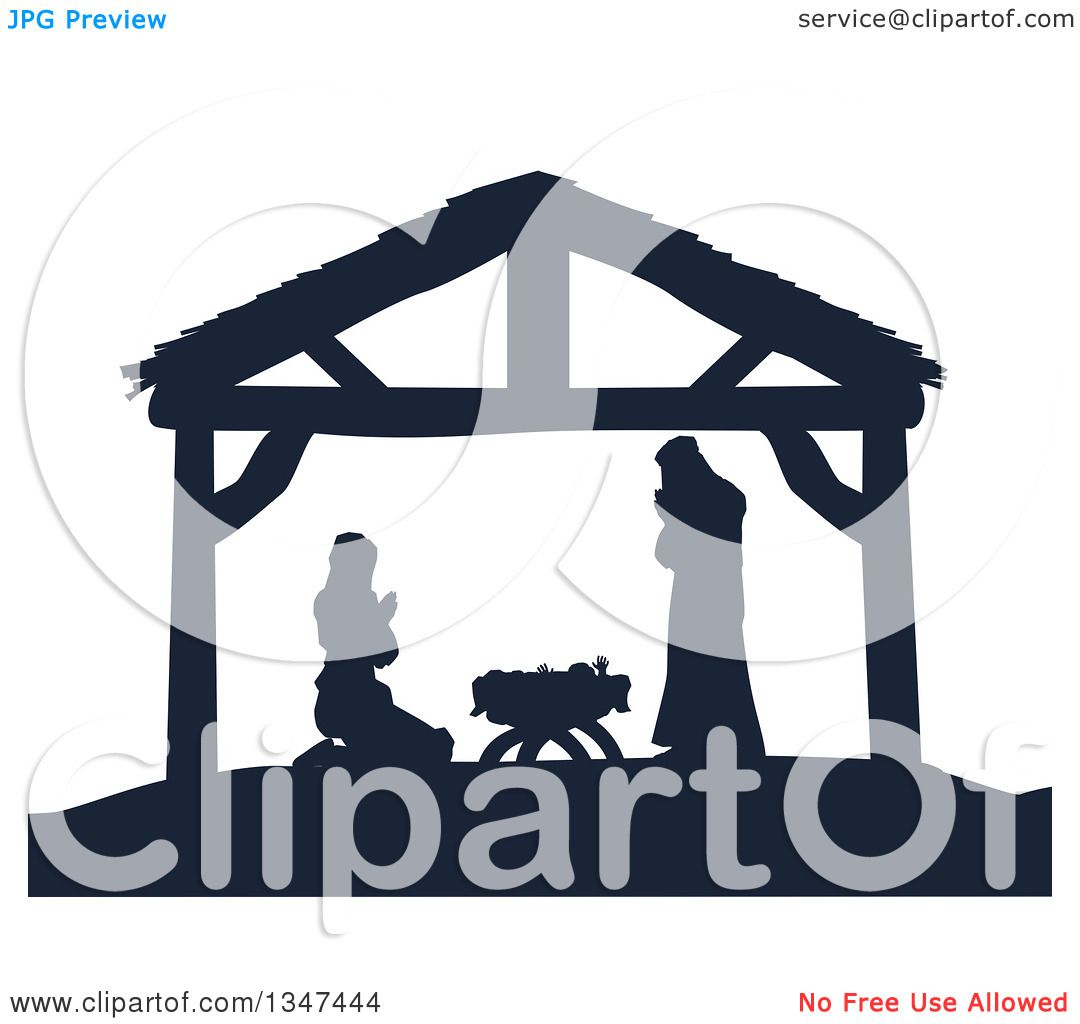 Clipart of a Navy Blue Silhouetted Mary and Joseph Praying over.