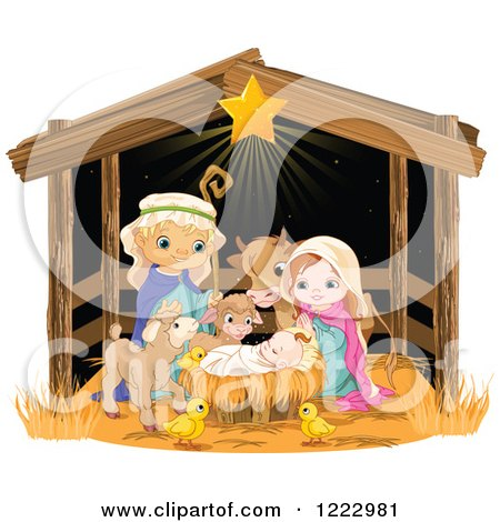 Clipart of a Nativity Scene of Baby Jesus, Joseph, Mary and Cute.