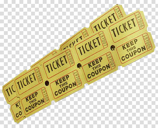Ticket s, yellow movie ticket illustration transparent.