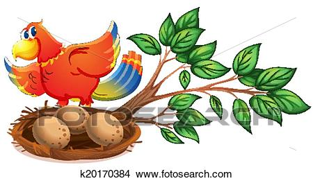 A colourful bird at the branch of a tree with a nest Clipart.