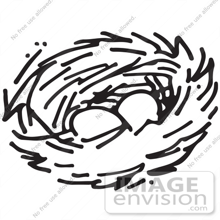 Clipart Of A Nest With Two Eggs In Black And White.