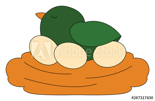 Clipart of a cute little green chicken resting on a nest with three.