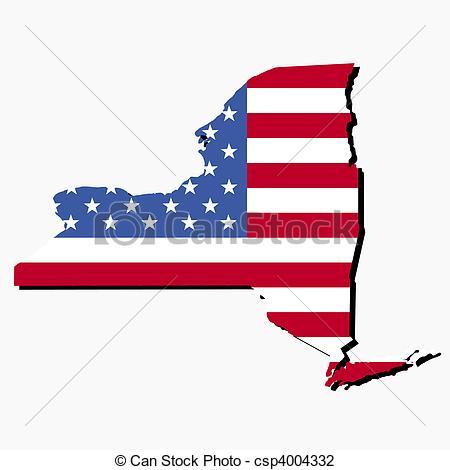 Clip Art of New York map flag.