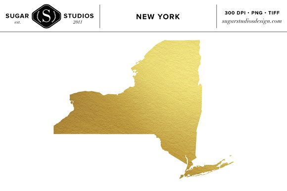New York State Gold Foil Clip Art ~ Objects on Creative Market.