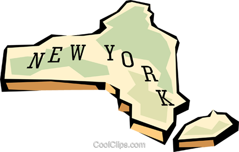 New York state map Royalty Free Vector Clip Art illustration.