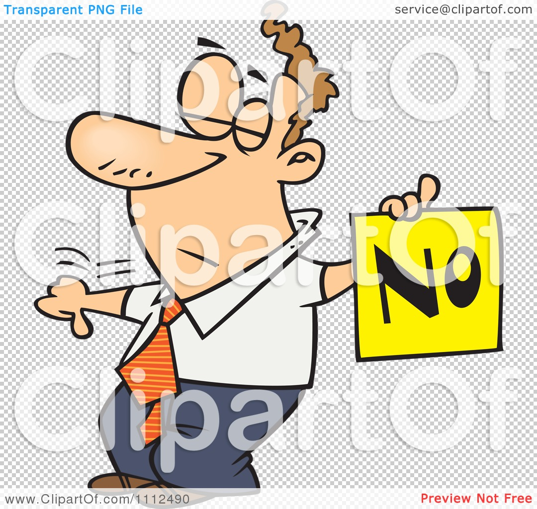 Clipart Displeased Man With A Thumb Down Holding A NO Sign.