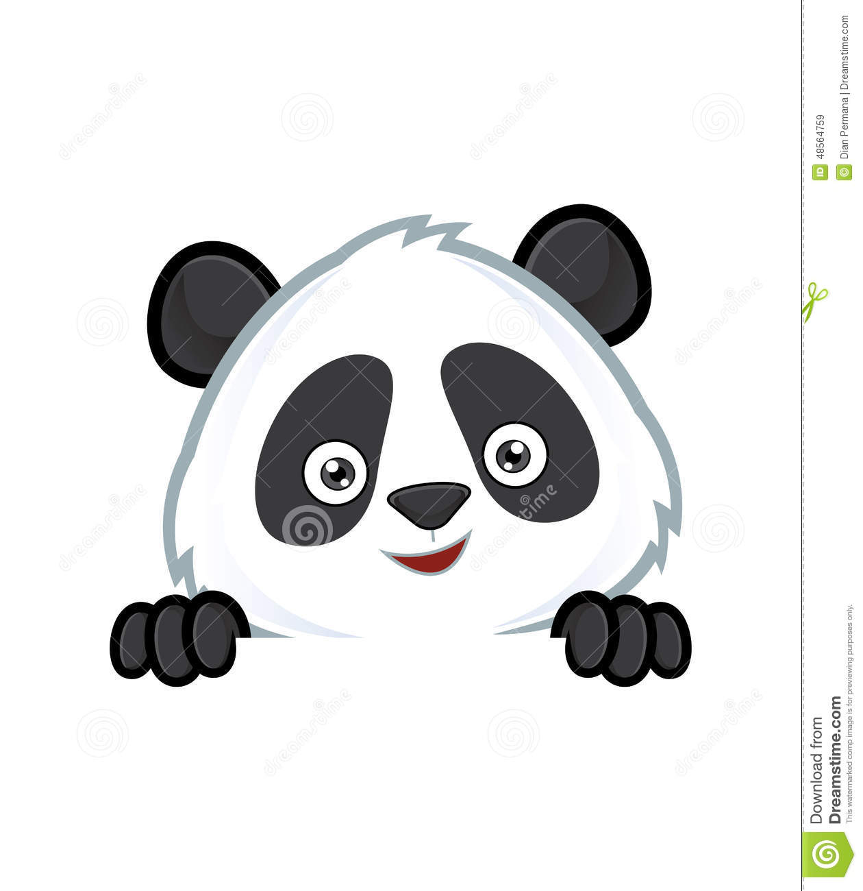 Panda Holding And Looking Over A Blank Sign Board Stock Vector.