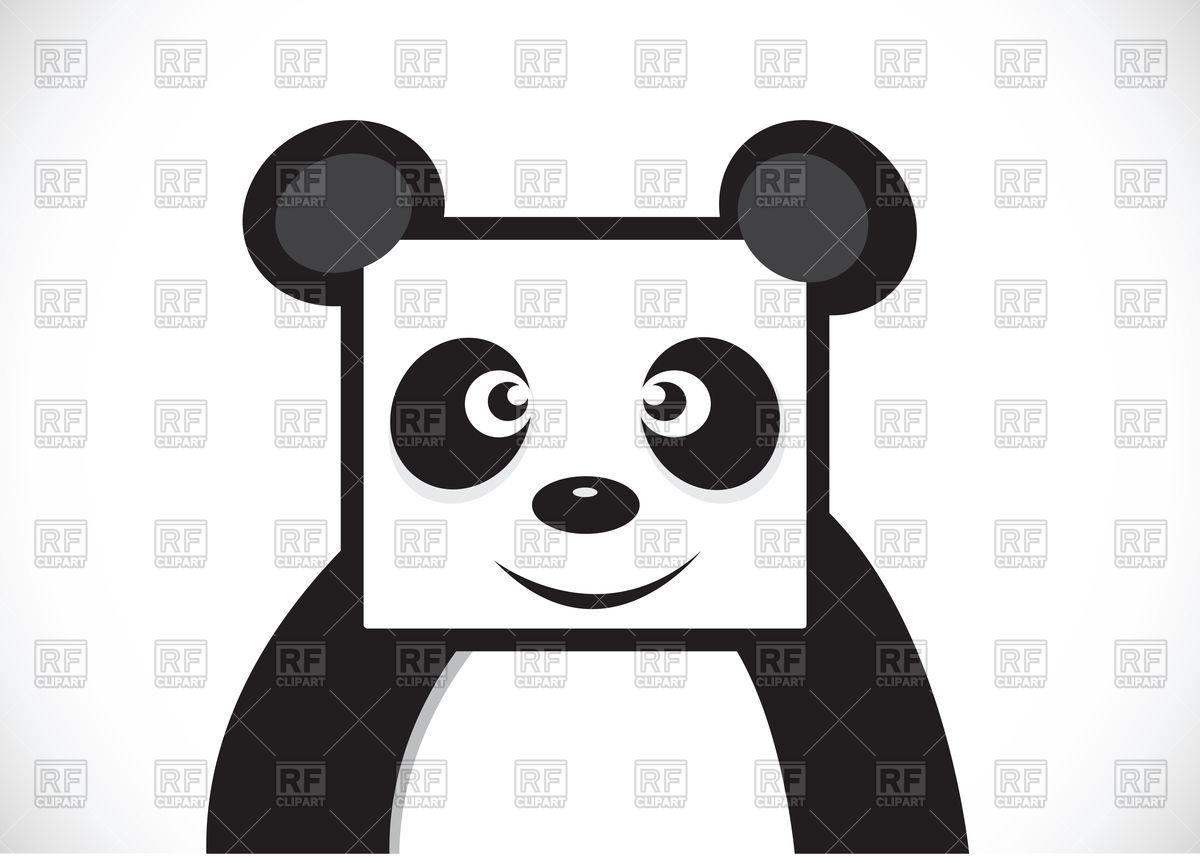 Panda cartoon character with square head Stock Vector Image.