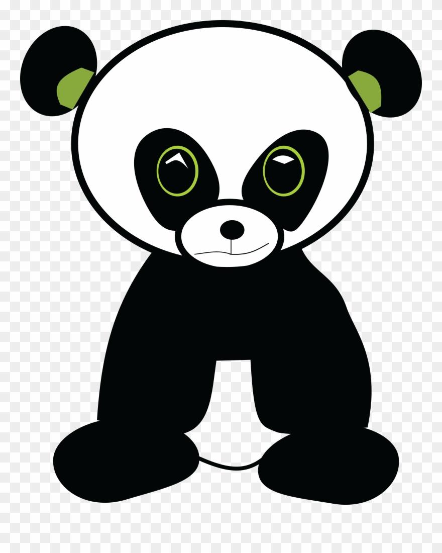 Free Clipart Of A Cute Green Eyed Panda.