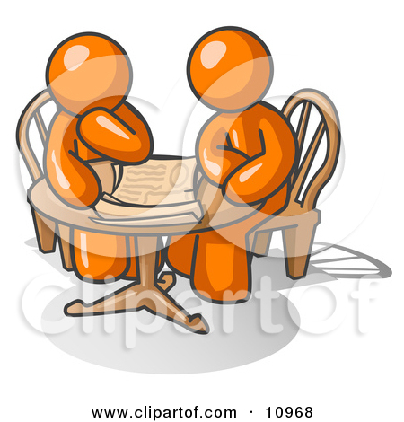 Two Businessmen Sitting at a Table, Discussing Papers Clipart.