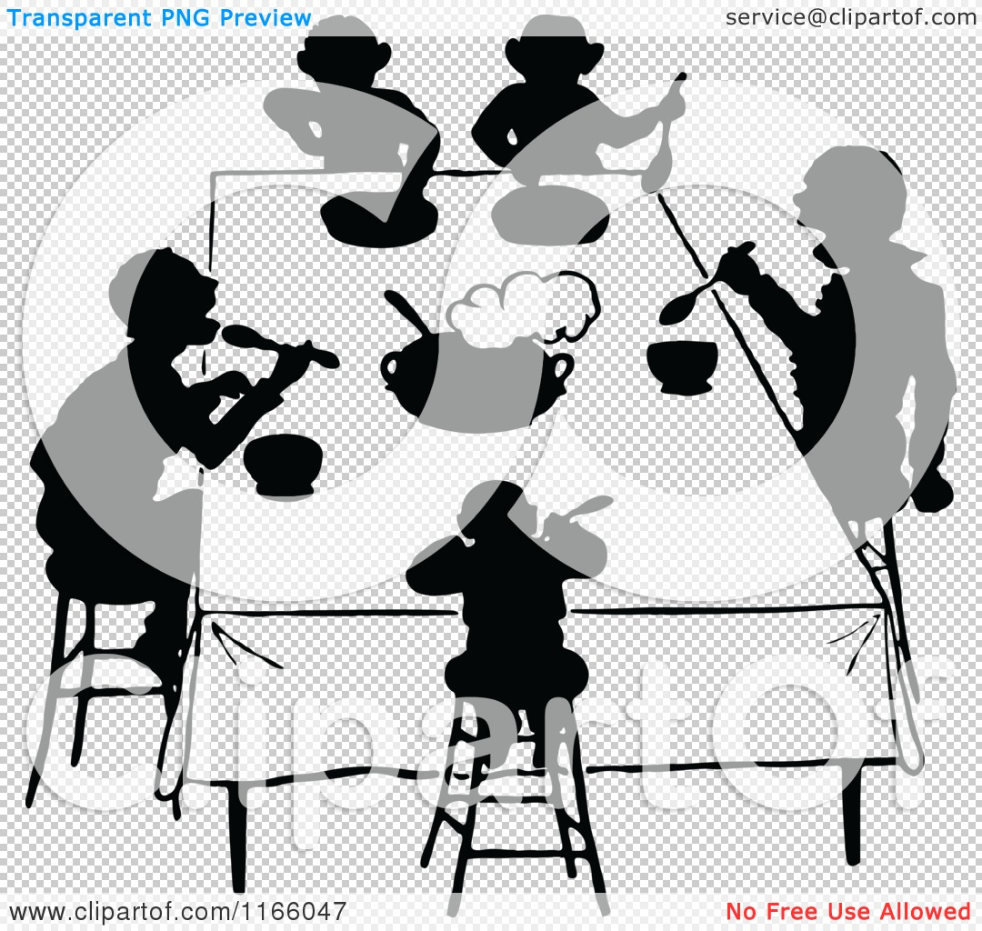 Clipart of Silhouetted People Eating at a Table.