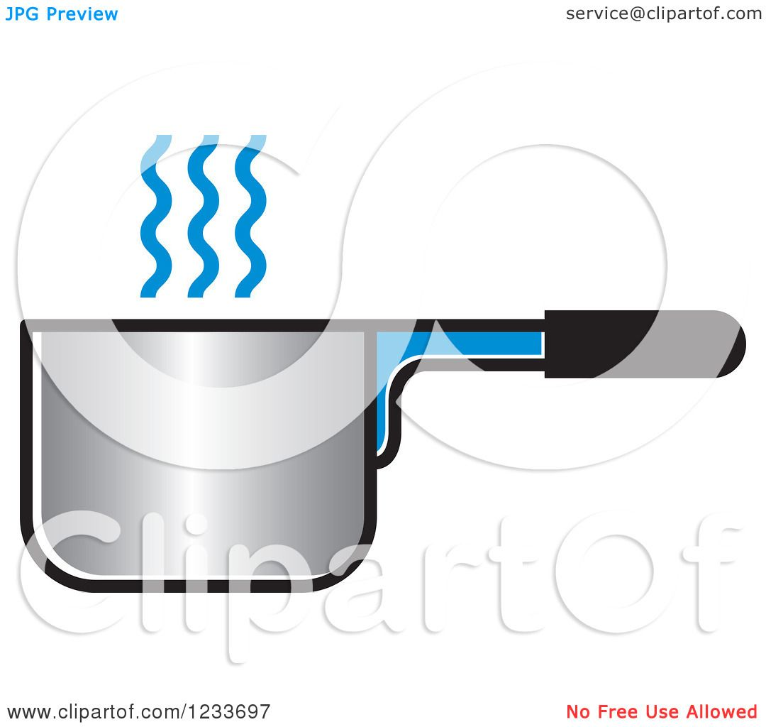 Clipart of a Pot with Blue Steam.