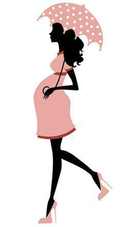 Cute Pregnant Woman Silhouette.