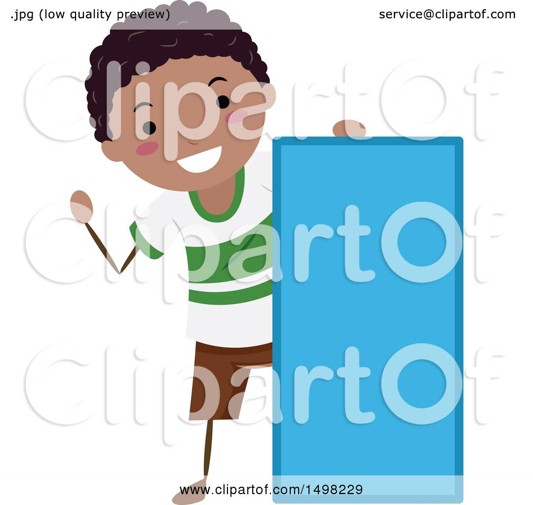 Clipart of a Boy with a Shape of a Rectangle.