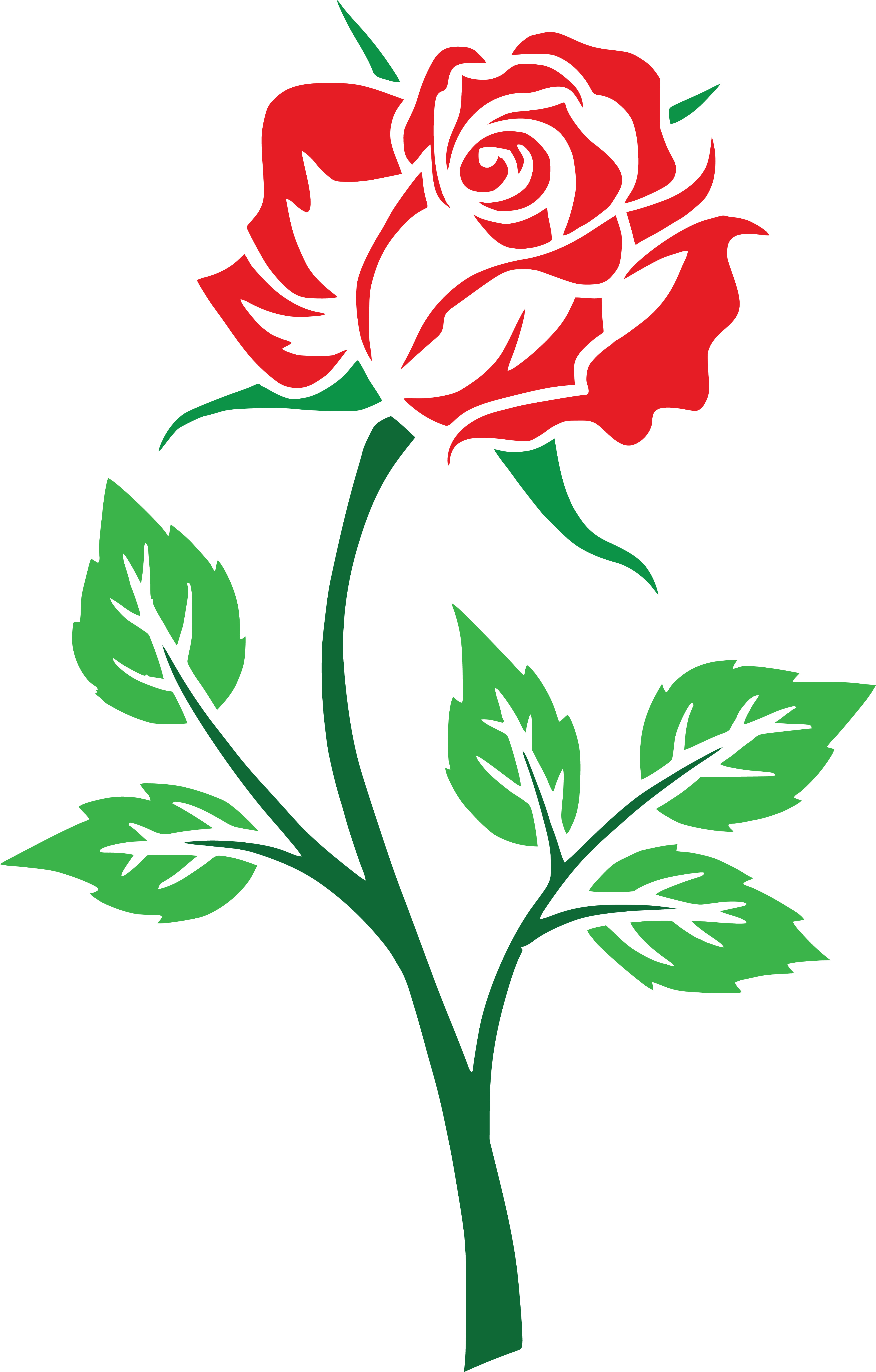 1277 Red Rose free clipart.
