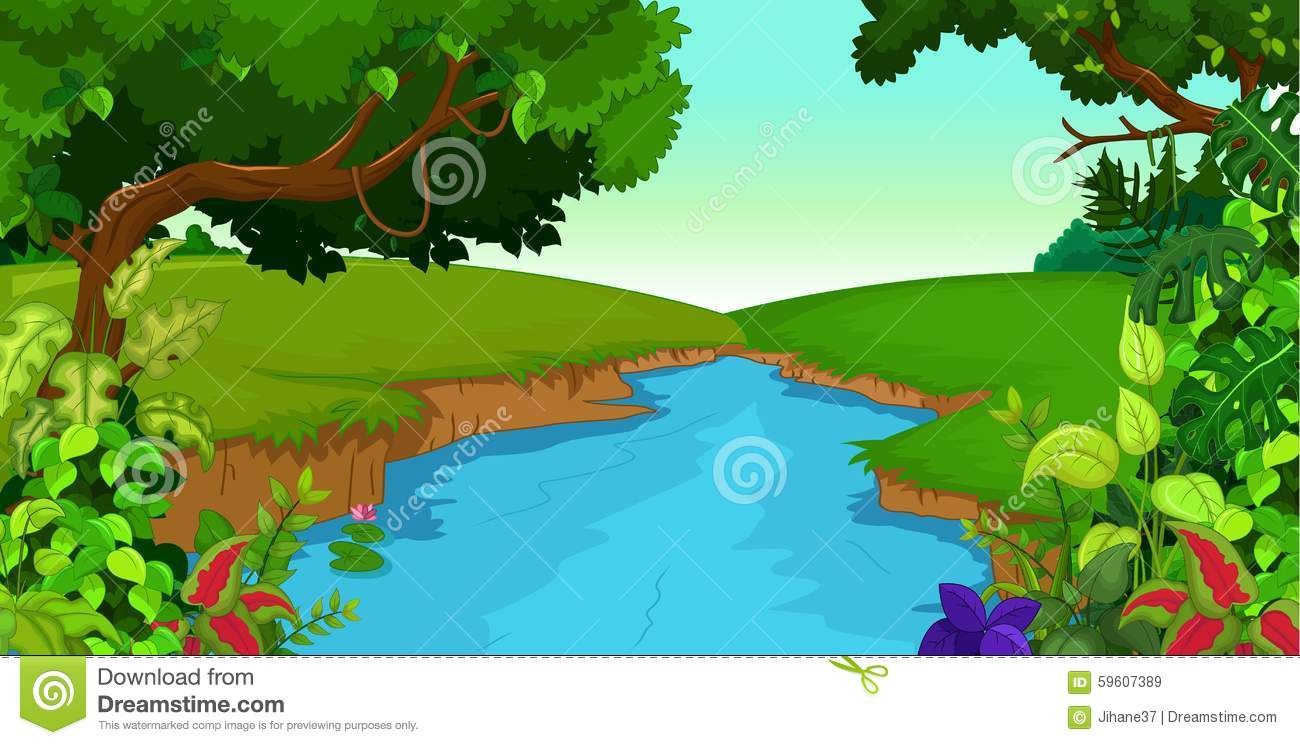 Forest With River Clipart.