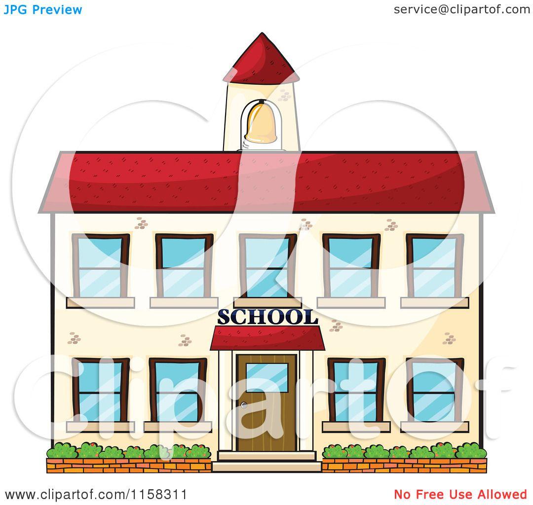 Clipart of a School Building Facade.