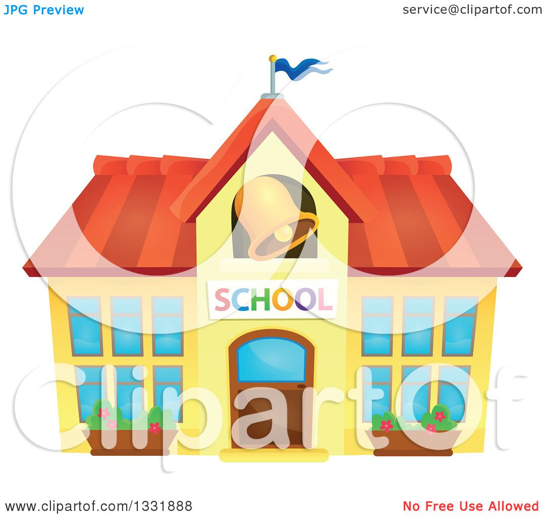 Clipart of a School Building with a Ringing Bell.