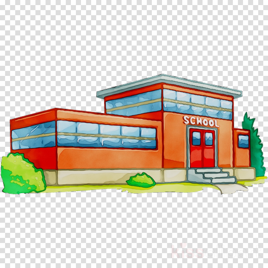 School Building Cartoon clipart.