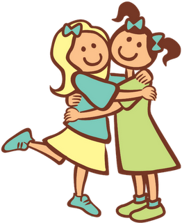 Sisters Hugging Clipart.