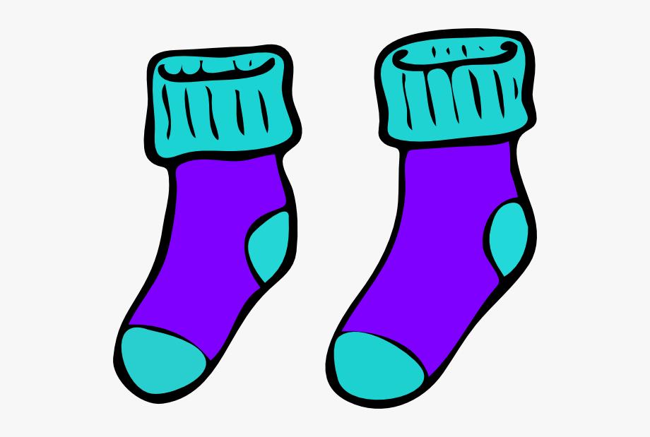 Turquoise Purple Sock Clip Art.