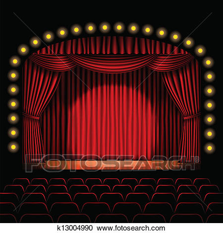 Stage with red curtain Clipart.