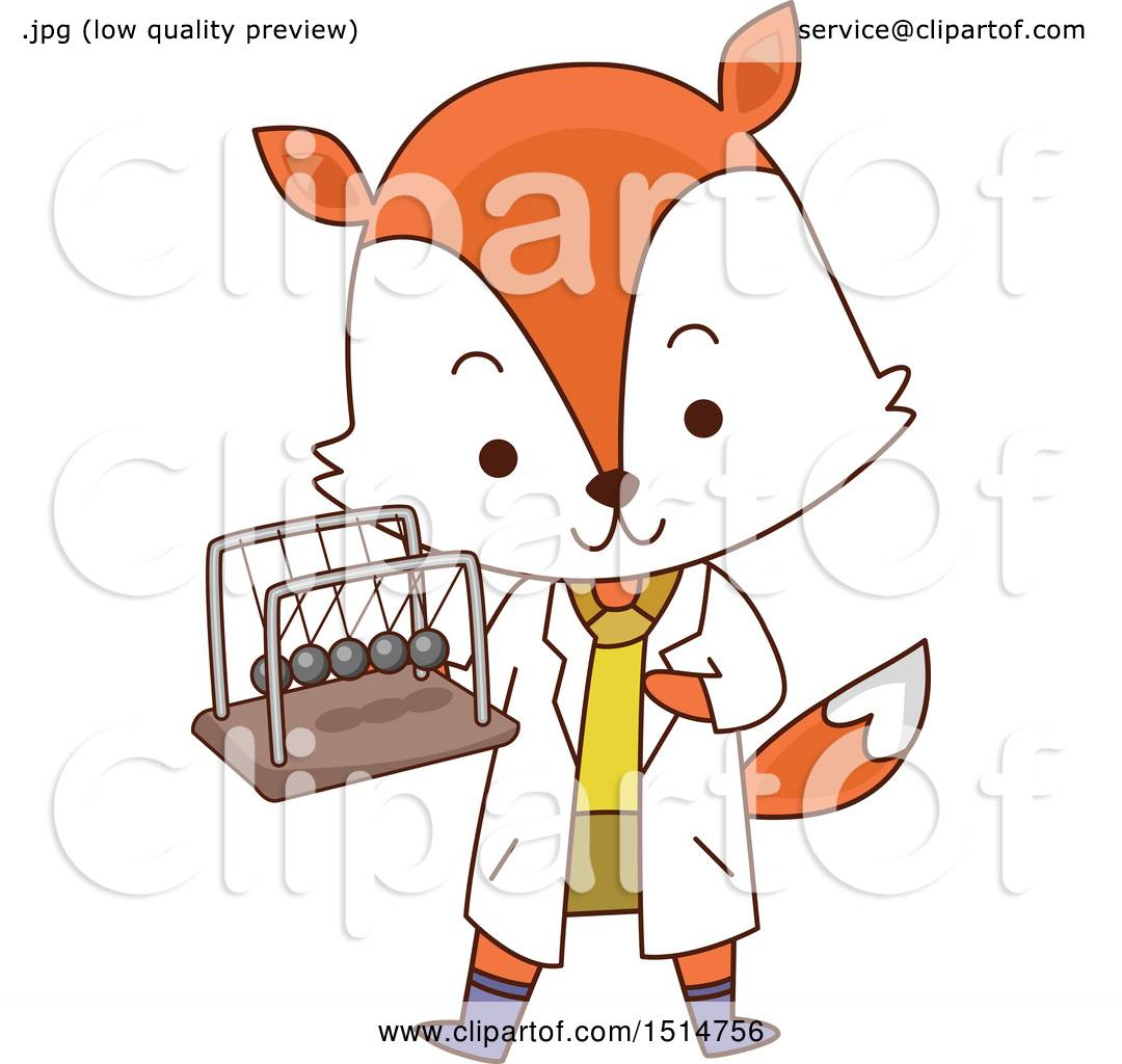 Clipart of a Student Fox Holding a Newtons Cradle.