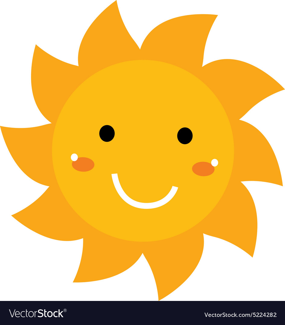 Pretty smiling Sun clipart isolated on white.