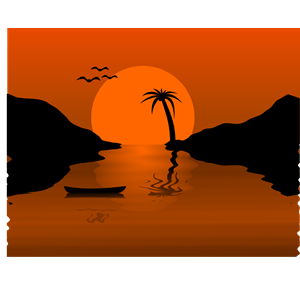 Sunset Waterscene clipart, cliparts of Sunset Waterscene free.