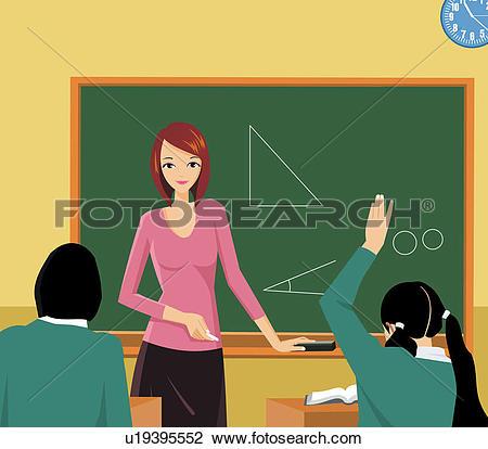 Clip Art of Front view of a teacher teaching in a class u19395552.