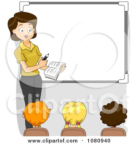 Clipart Female Teacher Teaching By A White Board.