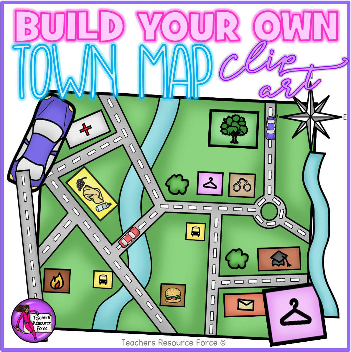 Build your own Town Map Clip Art.