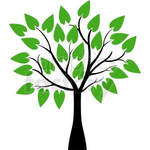 vector tree with huge leaves clipart. Royalty.