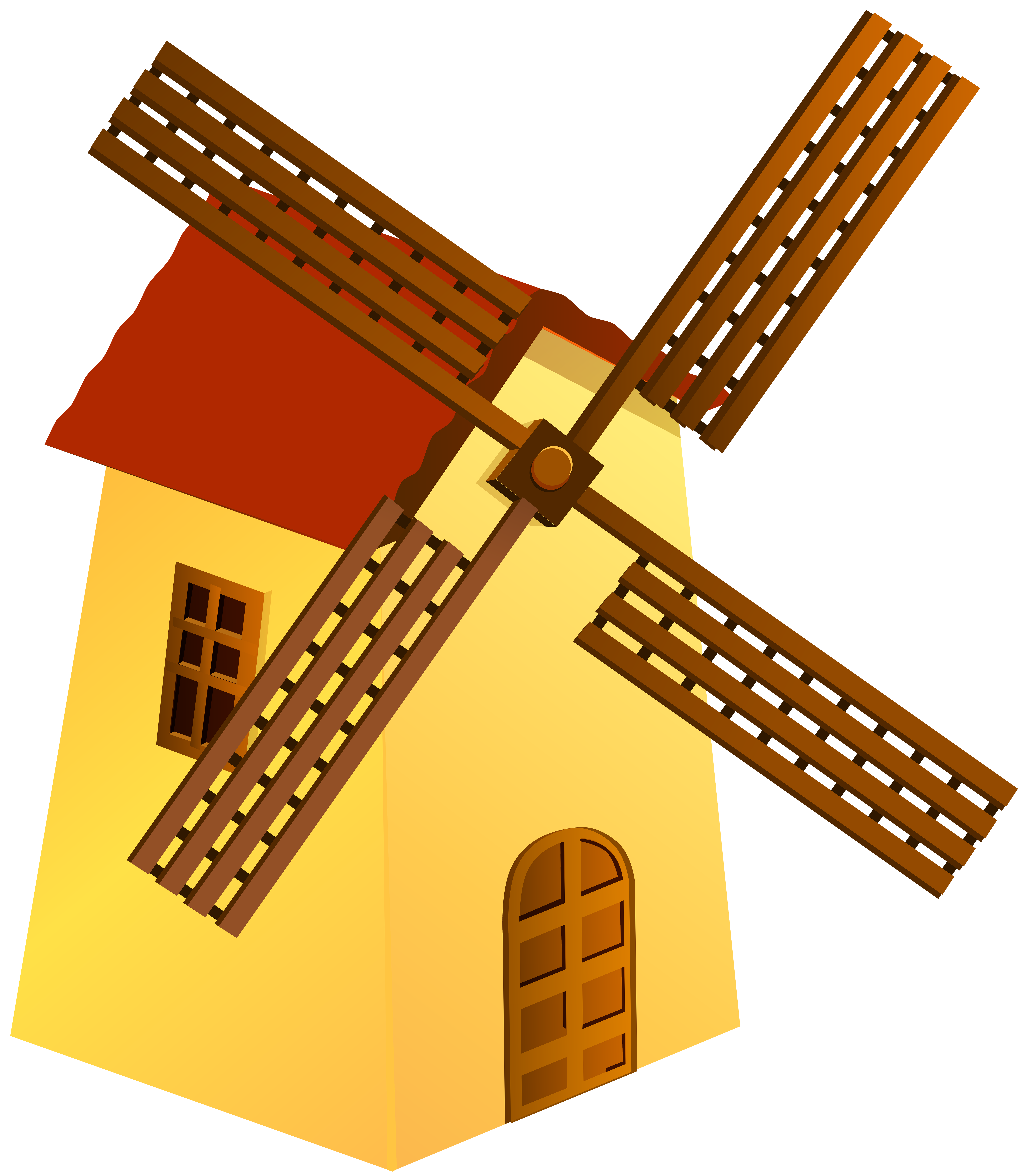 Windmill Yellow PNG Clip Art.