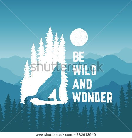 Clipart Of A Wolf Against A Tree.