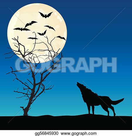 Clipart of a wolf agaist a tree.