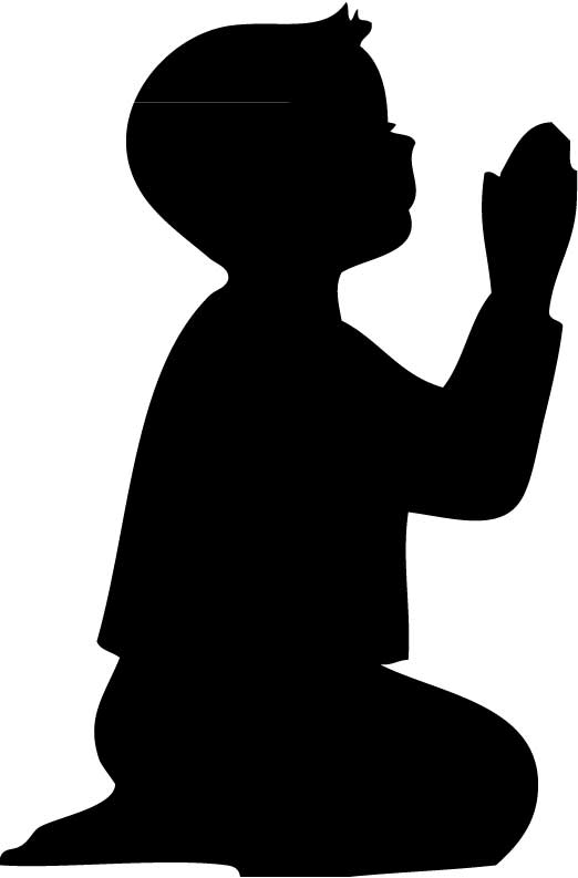 Black And White Clipart Of A Praying Man.