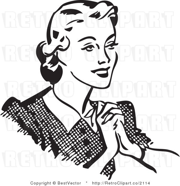 Clipart Of A Woman In Black And White.