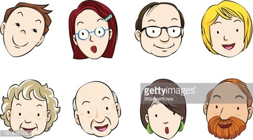 Faces of eight adults Clipart Image.